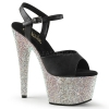 BEJEWELED-709DM Black Faux Leather/Silver Rhinestones
